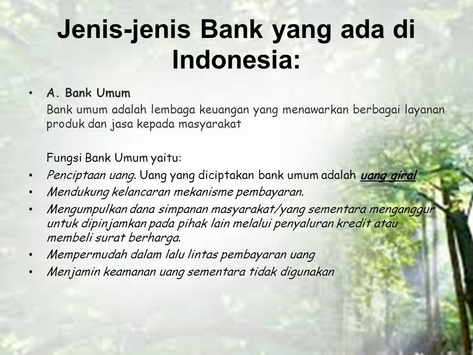 Jenis-jenis Bank yang ada di Indonesia: