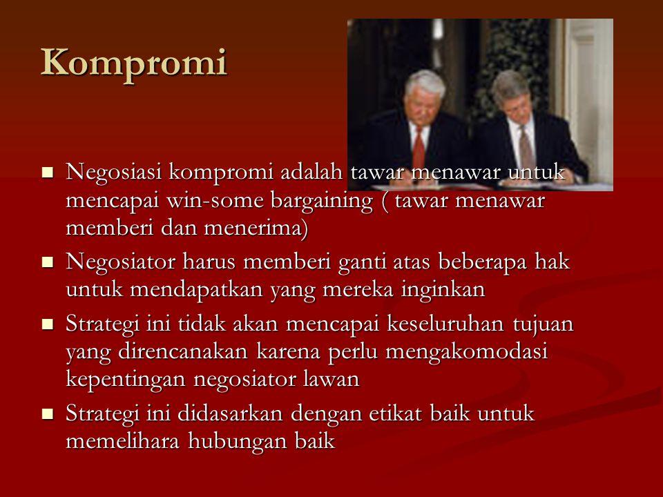 Kompromi Negosiasi kompromi adalah tawar menawar untuk mencapai win-some bargaining ( tawar menawar memberi dan menerima)