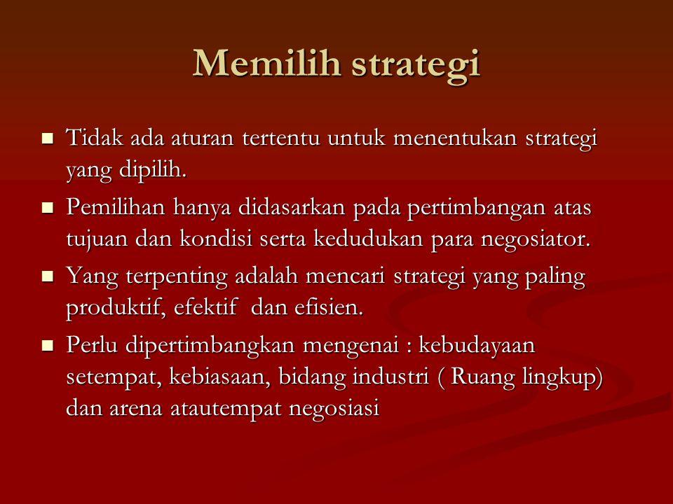 Memilih strategi Tidak ada aturan tertentu untuk menentukan strategi yang dipilih.