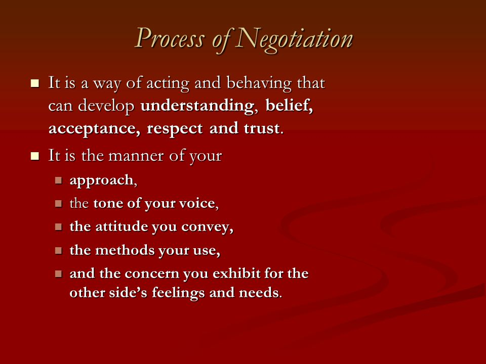 Process of Negotiation
