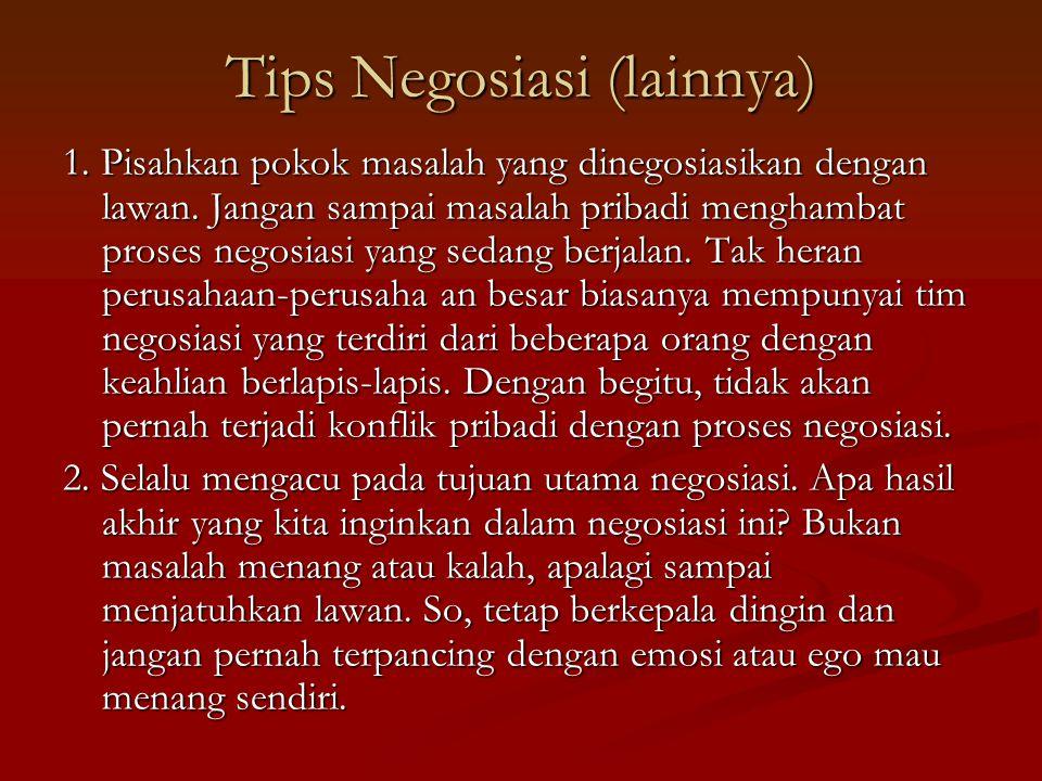 Tips Negosiasi (lainnya)