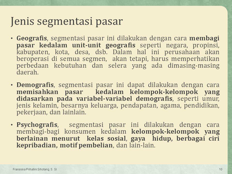 Jenis segmentasi pasar