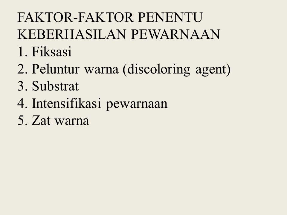 FAKTOR-FAKTOR PENENTU KEBERHASILAN PEWARNAAN 1. Fiksasi 2