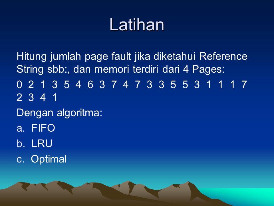 Latihan Hitung jumlah page fault jika diketahui Reference String sbb:, dan memori terdiri dari 4 Pages: