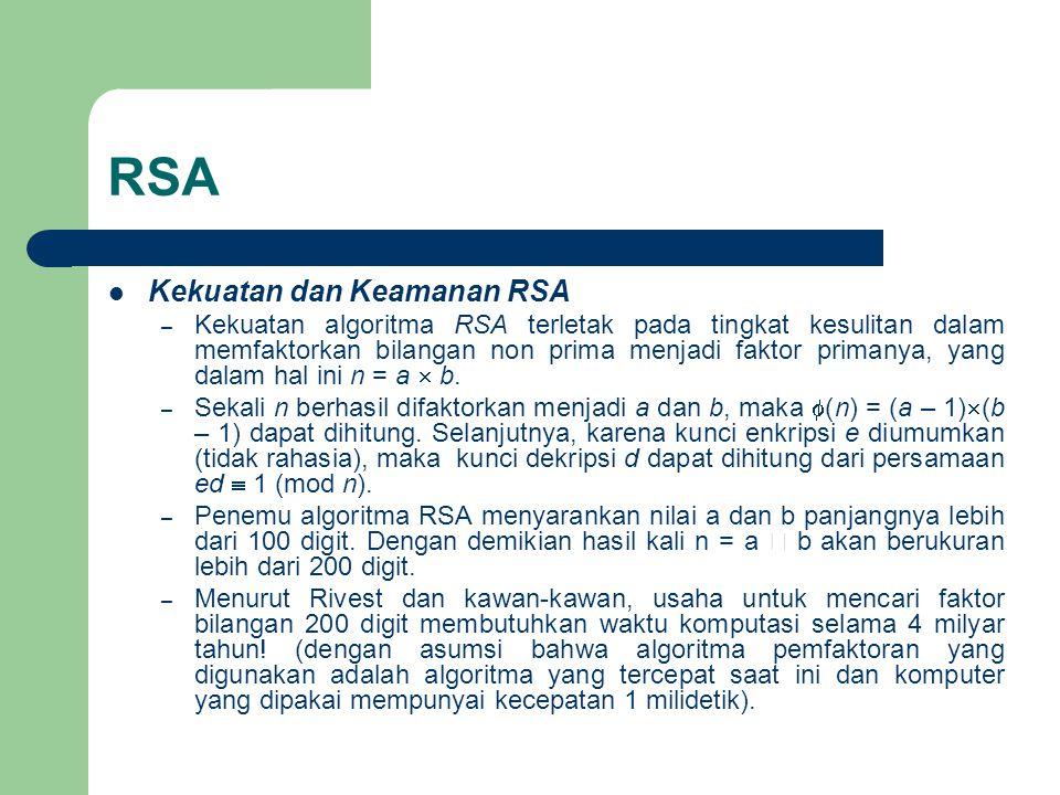 RSA Kekuatan dan Keamanan RSA