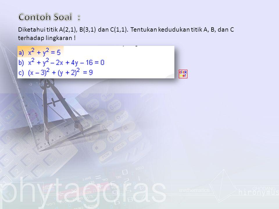 Contoh Soal : Diketahui titik A(2,1), B(3,1) dan C(1,1).