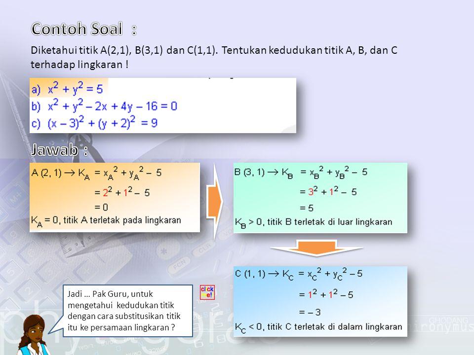 Contoh Soal : Diketahui titik A(2,1), B(3,1) dan C(1,1). Tentukan kedudukan titik A, B, dan C terhadap lingkaran !