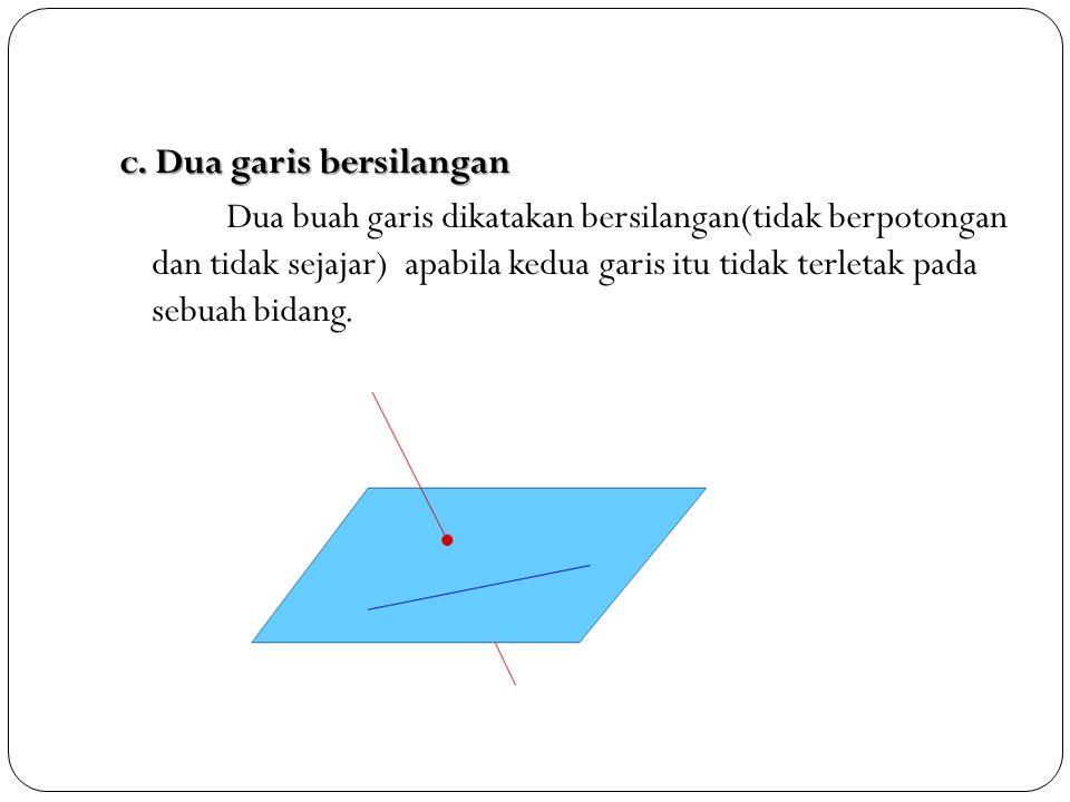 c. Dua garis bersilangan