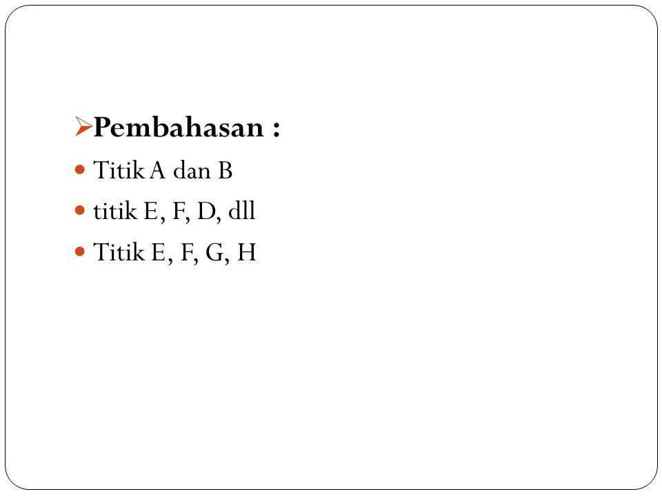 Pembahasan : Titik A dan B titik E, F, D, dll Titik E, F, G, H