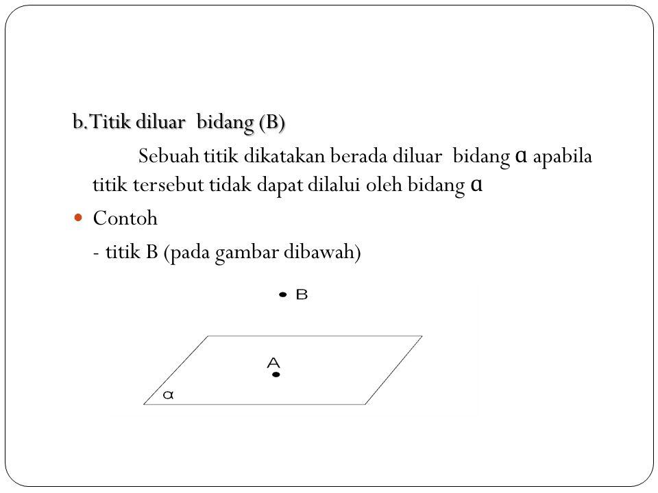 b.Titik diluar bidang (B)