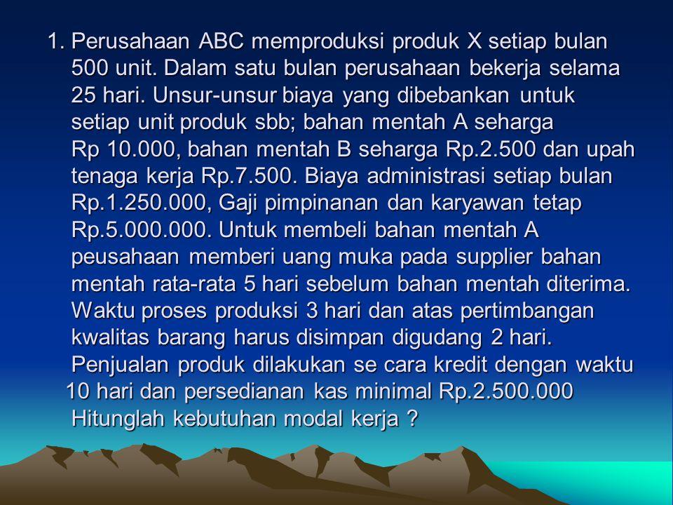 1. Perusahaan ABC memproduksi produk X setiap bulan 500 unit
