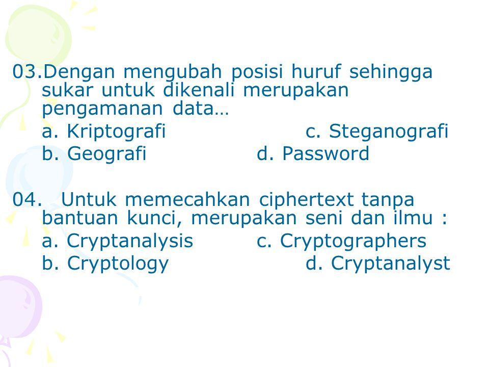 03.Dengan mengubah posisi huruf sehingga sukar untuk dikenali merupakan pengamanan data…