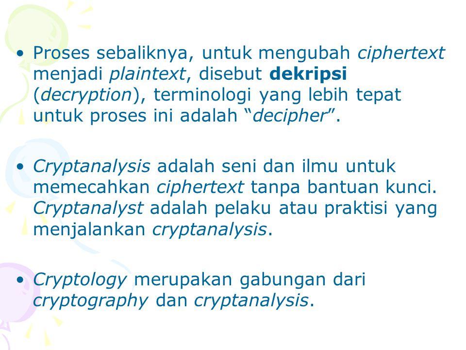 Proses sebaliknya, untuk mengubah ciphertext menjadi plaintext, disebut dekripsi (decryption), terminologi yang lebih tepat untuk proses ini adalah decipher .