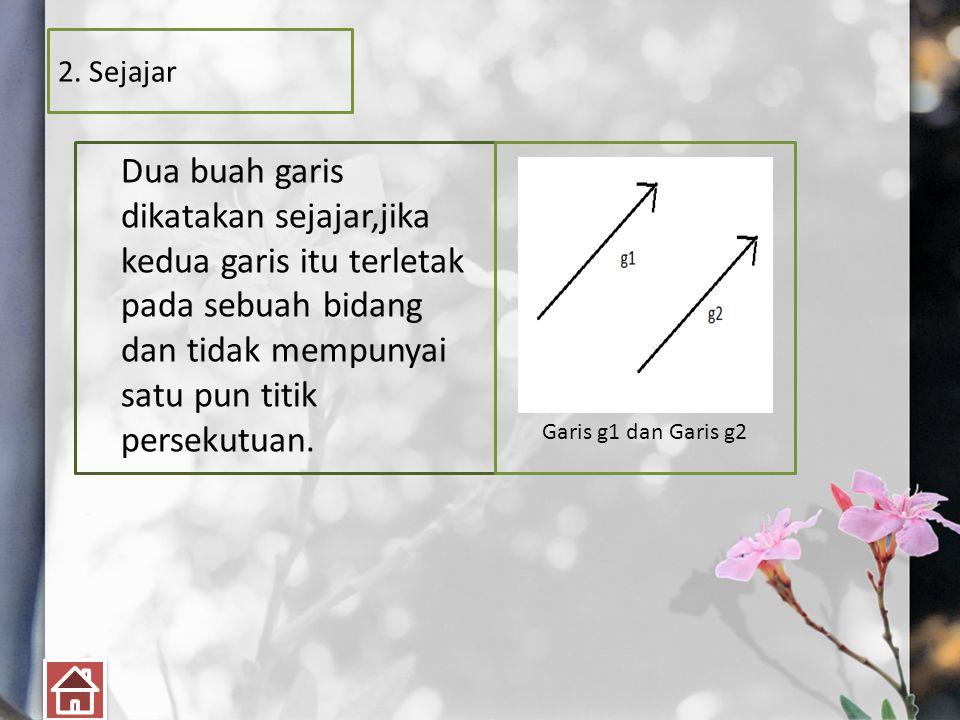 2. Sejajar Dua buah garis dikatakan sejajar,jika kedua garis itu terletak pada sebuah bidang dan tidak mempunyai satu pun titik persekutuan.