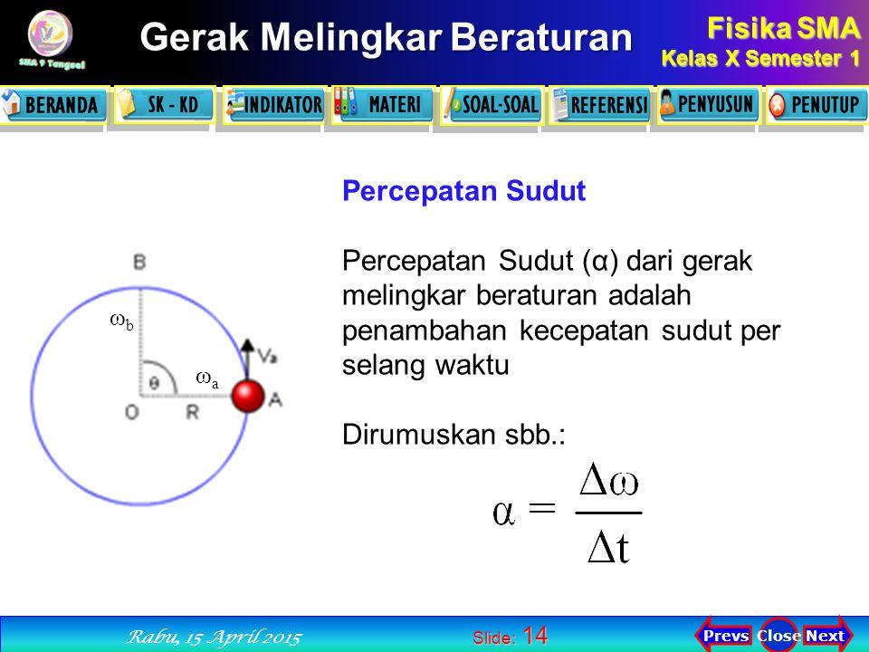 Percepatan Sudut Percepatan Sudut (α) dari gerak melingkar beraturan adalah penambahan kecepatan sudut per selang waktu.