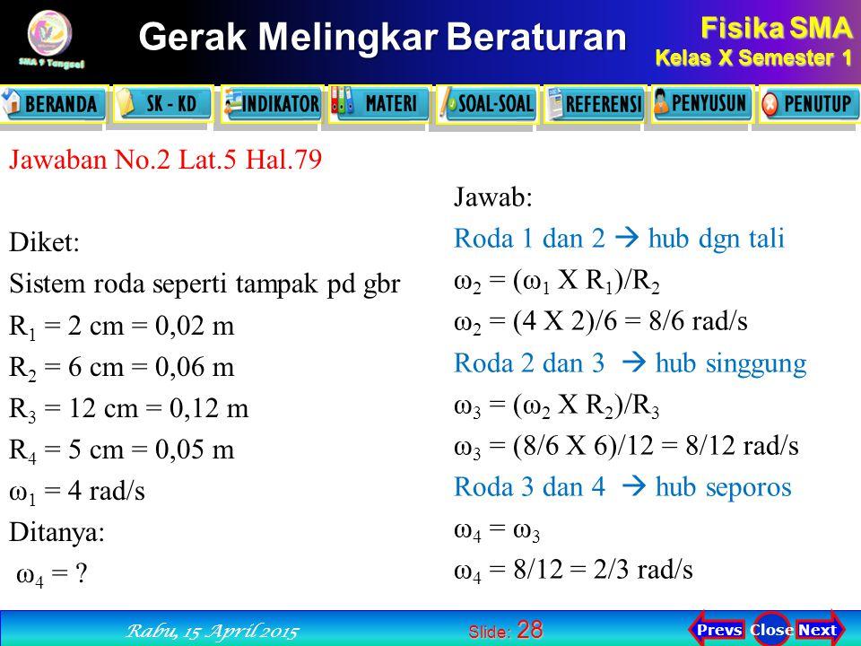Jawaban No.2 Lat.5 Hal.79 Diket: Sistem roda seperti tampak pd gbr. R1 = 2 cm = 0,02 m. R2 = 6 cm = 0,06 m.