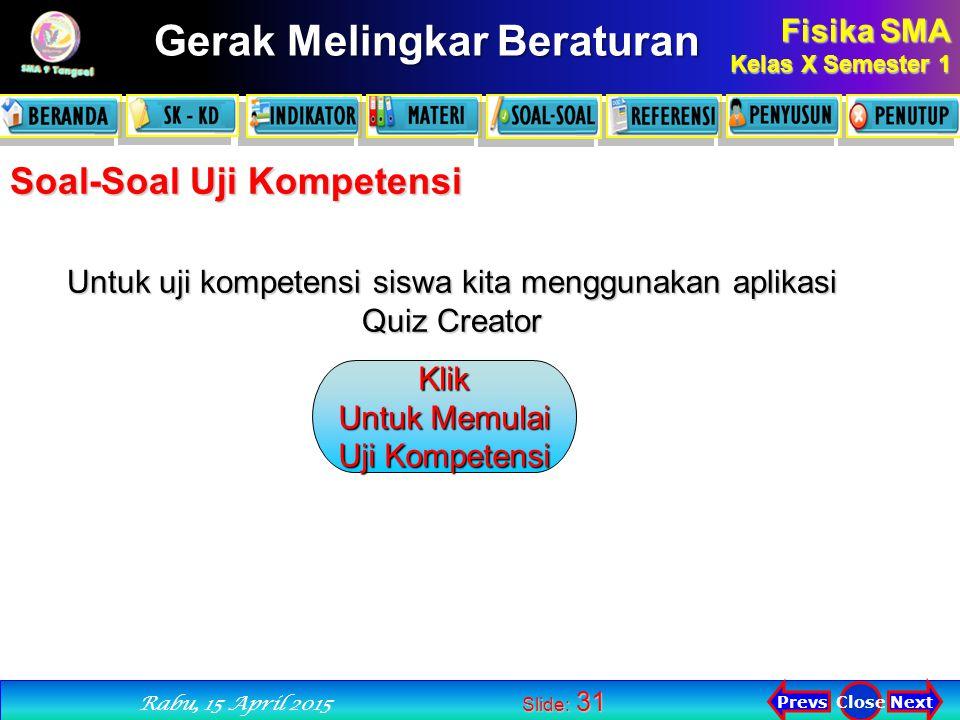 Untuk uji kompetensi siswa kita menggunakan aplikasi Quiz Creator