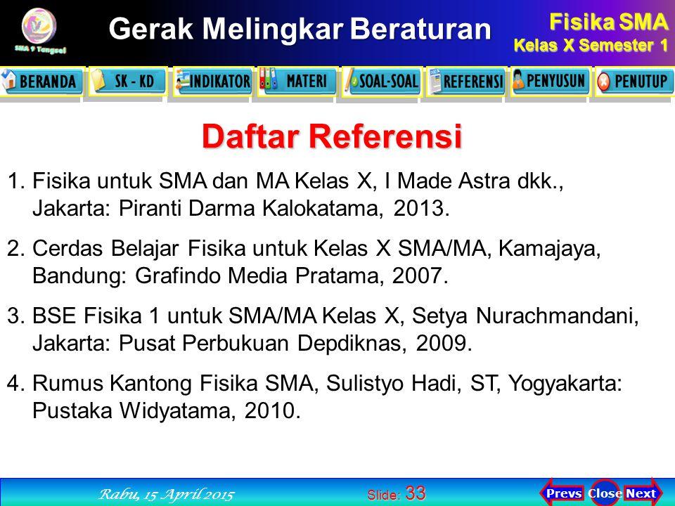 Rabu, 12 April 2017 Daftar Referensi. Fisika untuk SMA dan MA Kelas X, I Made Astra dkk., Jakarta: Piranti Darma Kalokatama, 2013.