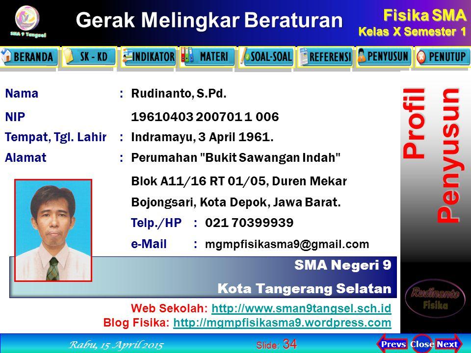 Profil Penyusun Nama : Rudinanto, S.Pd. NIP 19610403 200701 1 006