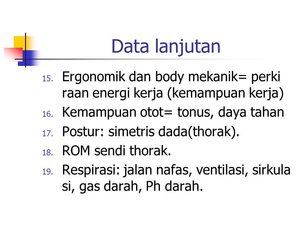 Data lanjutan Ergonomik dan body mekanik= perki raan energi kerja (kemampuan kerja) Kemampuan otot= tonus, daya tahan.