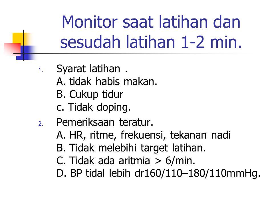 Monitor saat latihan dan sesudah latihan 1-2 min.
