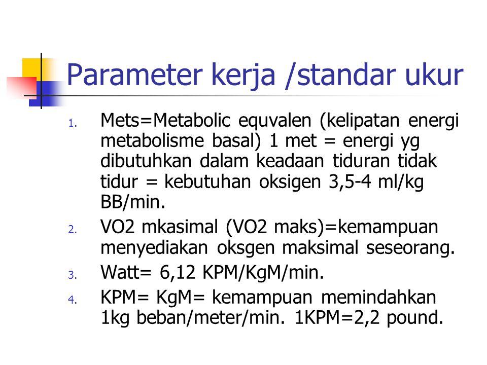 Parameter kerja /standar ukur
