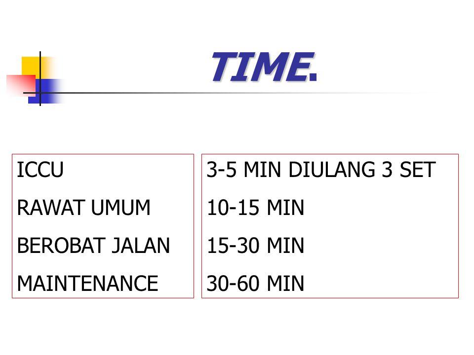 TIME. ICCU RAWAT UMUM BEROBAT JALAN MAINTENANCE 3-5 MIN DIULANG 3 SET