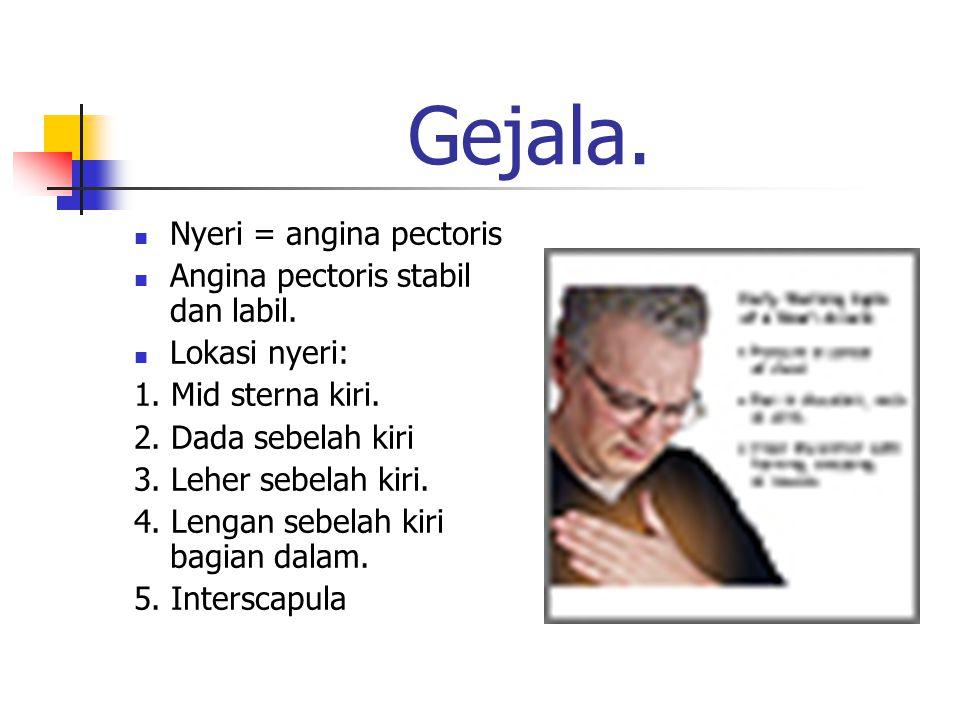 Gejala. Nyeri = angina pectoris Angina pectoris stabil dan labil.