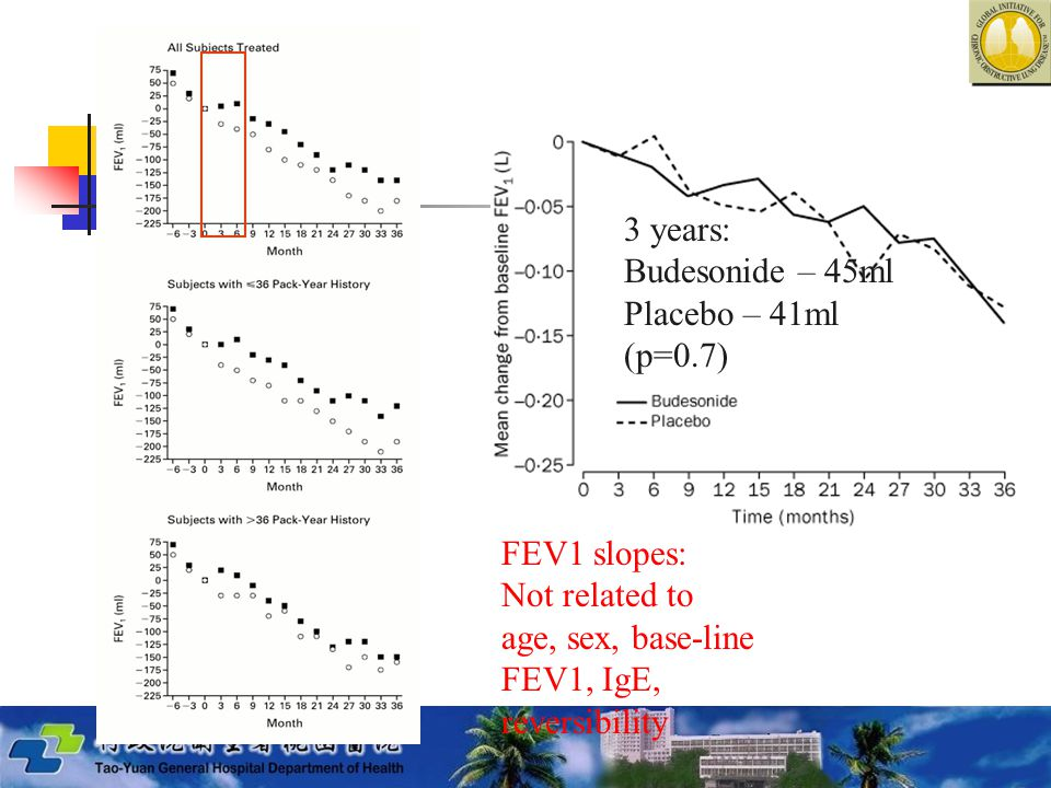 3 years: Budesonide – 45ml. Placebo – 41ml. (p=0.7) FEV1 slopes: Not related to. age, sex, base-line.