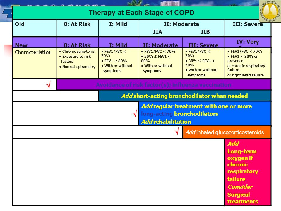    Therapy at Each Stage of COPD Old 0: At Risk I: Mild