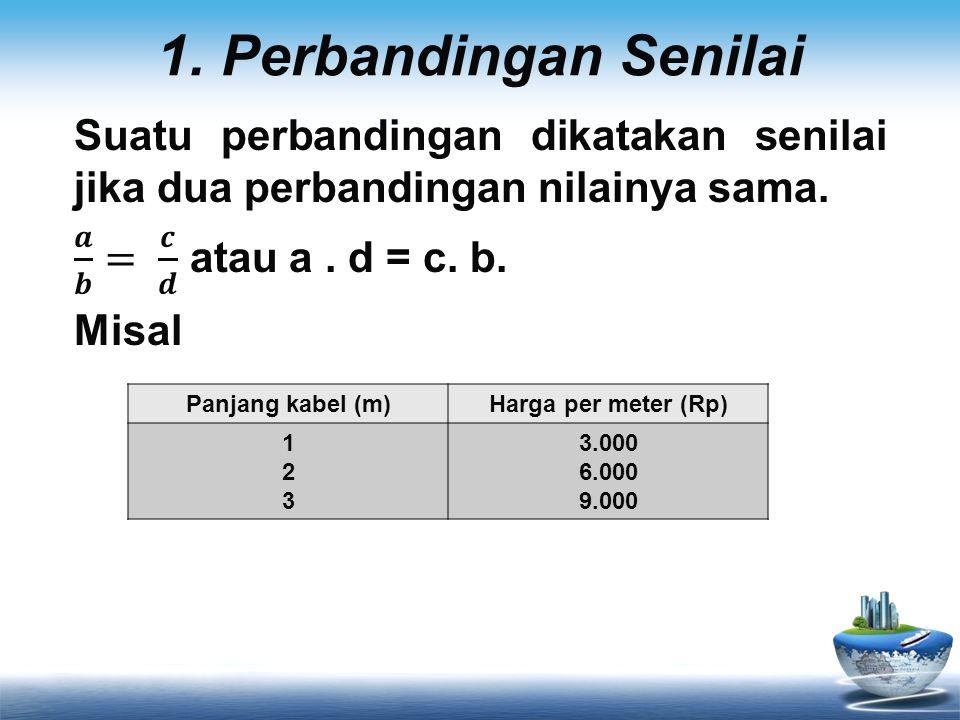 1. Perbandingan Senilai Suatu perbandingan dikatakan senilai jika dua perbandingan nilainya sama. 𝒂 𝒃 = 𝒄 𝒅 atau a . d = c. b.