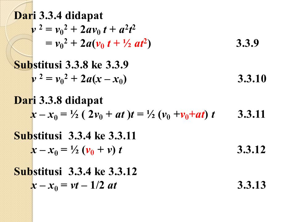 Dari 3.3.4 didapat v 2 = v02 + 2av0 t + a2t2. = v02 + 2a(v0 t + ½ at2) 3.3.9.