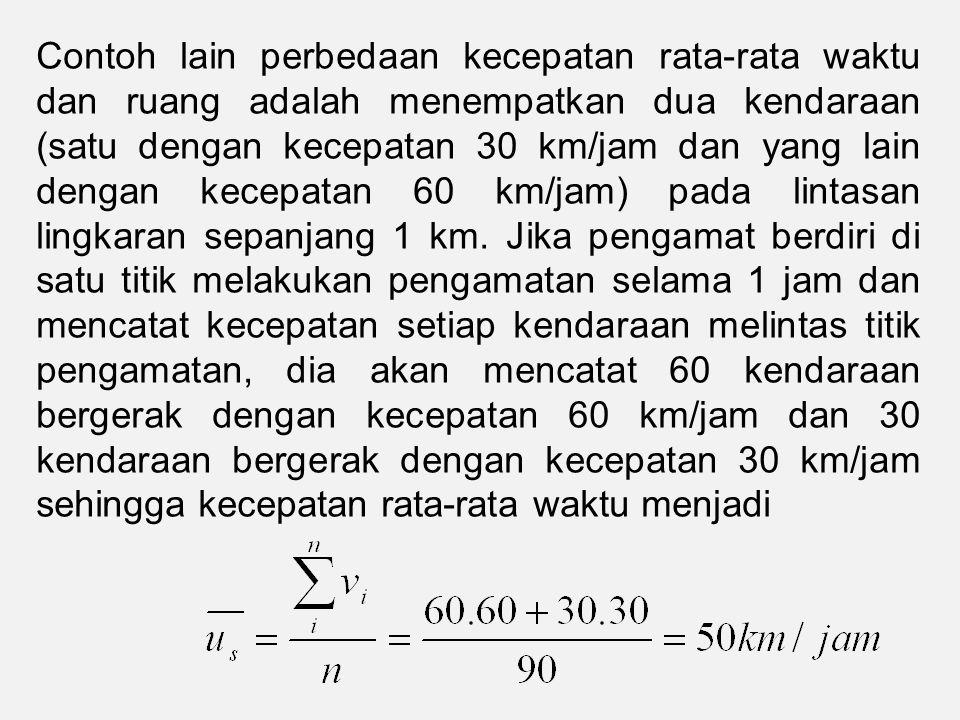 Contoh lain perbedaan kecepatan rata-rata waktu dan ruang adalah menempatkan dua kendaraan (satu dengan kecepatan 30 km/jam dan yang lain dengan kecepatan 60 km/jam) pada lintasan lingkaran sepanjang 1 km.