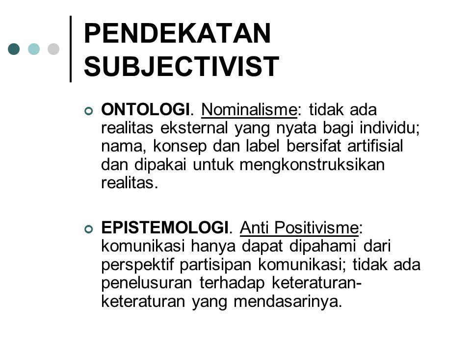 PENDEKATAN SUBJECTIVIST