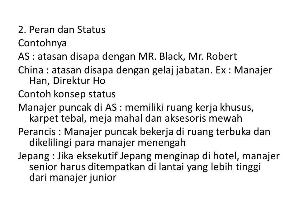2. Peran dan Status Contohnya AS : atasan disapa dengan MR. Black, Mr