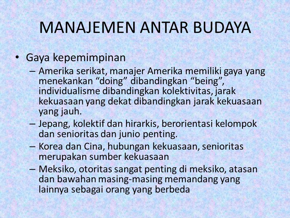 MANAJEMEN ANTAR BUDAYA