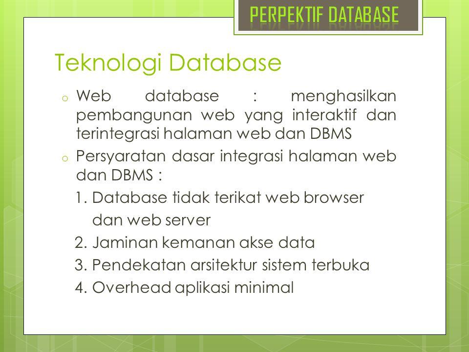 Teknologi Database PERPEKTIF DATABASE
