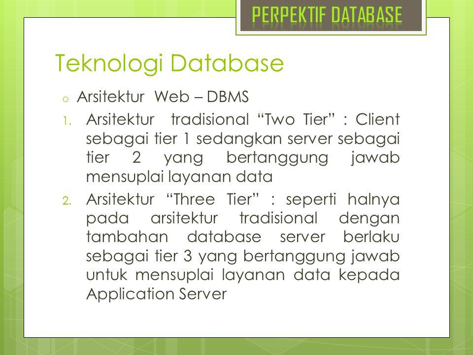 Teknologi Database PERPEKTIF DATABASE Arsitektur Web – DBMS