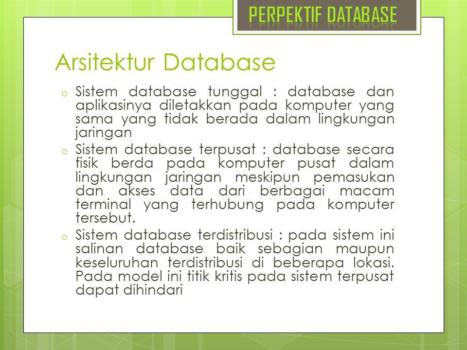 Arsitektur Database PERPEKTIF DATABASE