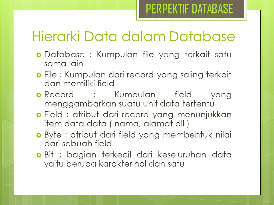 Hierarki Data dalam Database