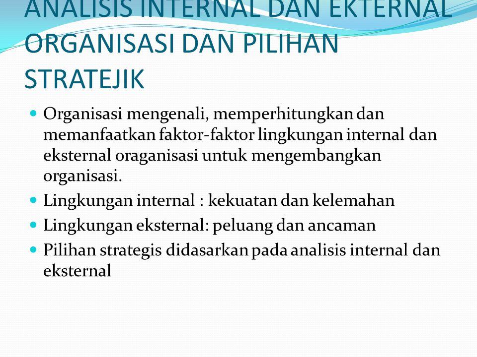 ANALISIS INTERNAL DAN EKTERNAL ORGANISASI DAN PILIHAN STRATEJIK