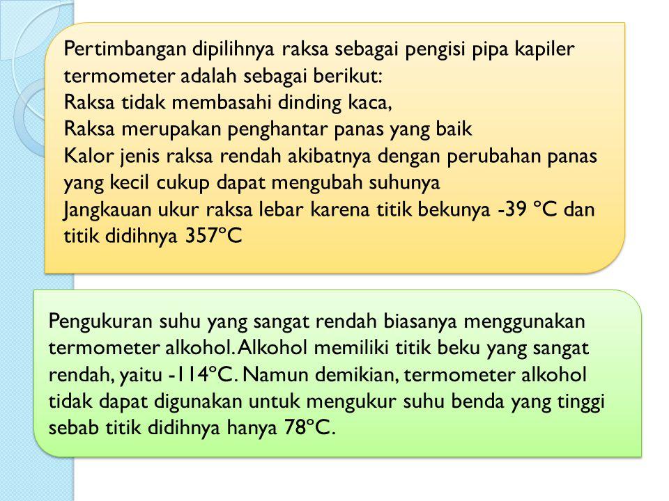 Pertimbangan dipilihnya raksa sebagai pengisi pipa kapiler termometer adalah sebagai berikut: