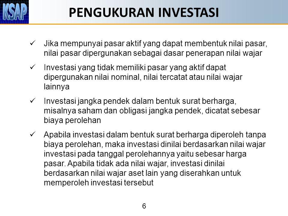 PENGUKURAN INVESTASI Jika mempunyai pasar aktif yang dapat membentuk nilai pasar, nilai pasar dipergunakan sebagai dasar penerapan nilai wajar.