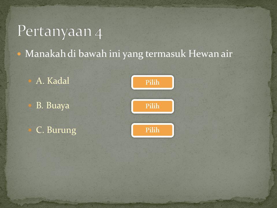 Pertanyaan 4 Manakah di bawah ini yang termasuk Hewan air A. Kadal