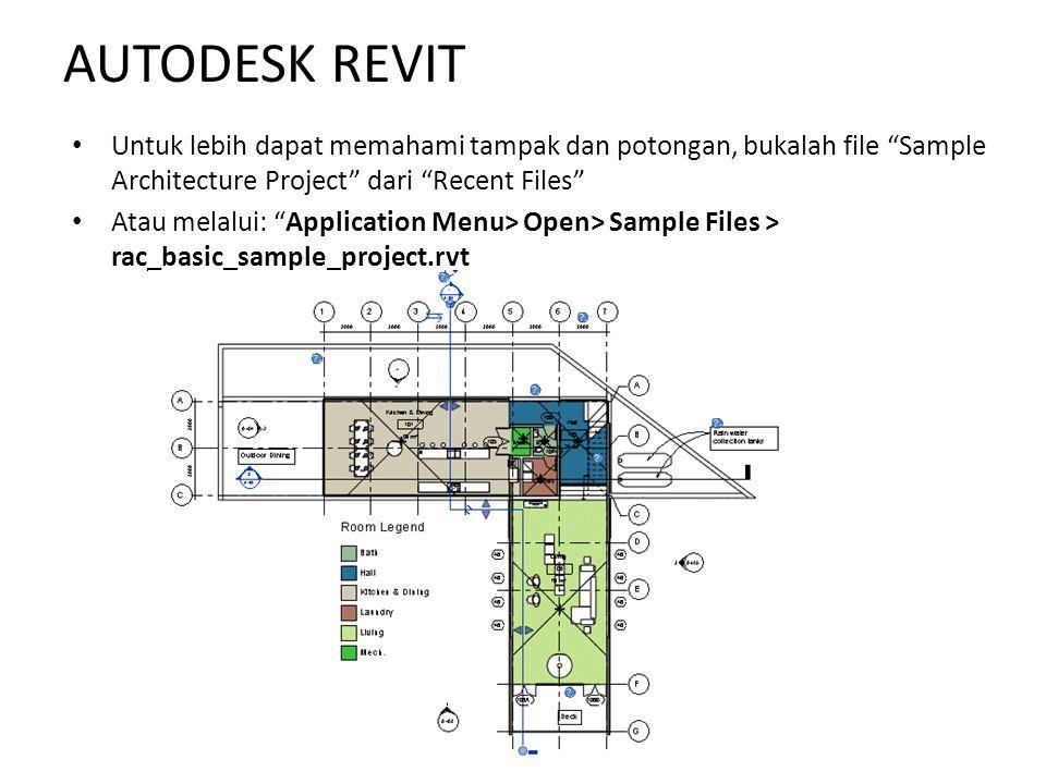 AUTODESK REVIT Untuk lebih dapat memahami tampak dan potongan, bukalah file Sample Architecture Project dari Recent Files
