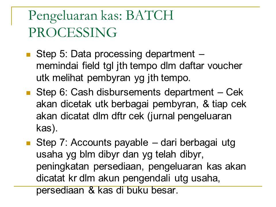 Pengeluaran kas: BATCH PROCESSING