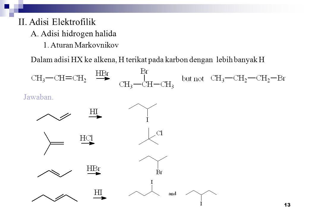 II. Adisi Elektrofilik A. Adisi hidrogen halida 1. Aturan Markovnikov