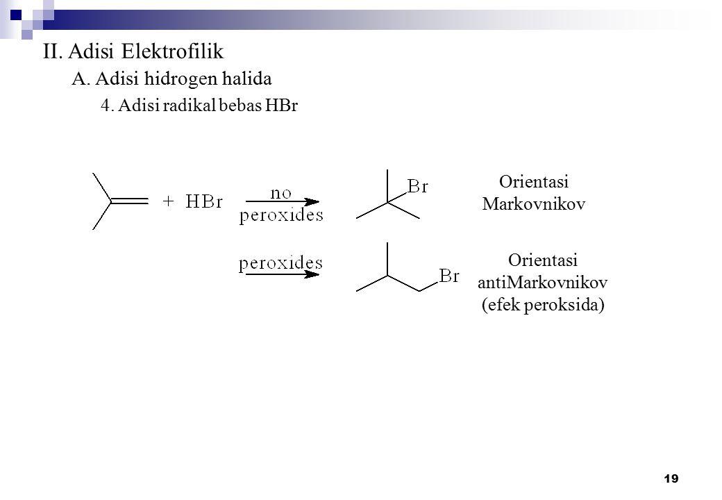 II. Adisi Elektrofilik A. Adisi hidrogen halida