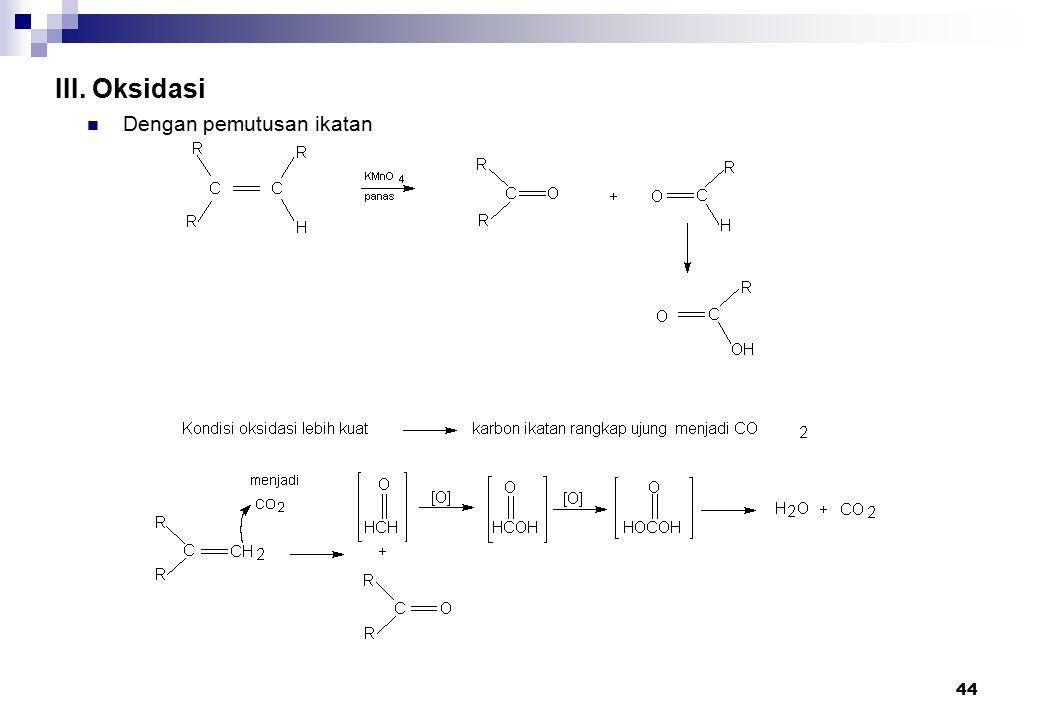 III. Oksidasi Dengan pemutusan ikatan