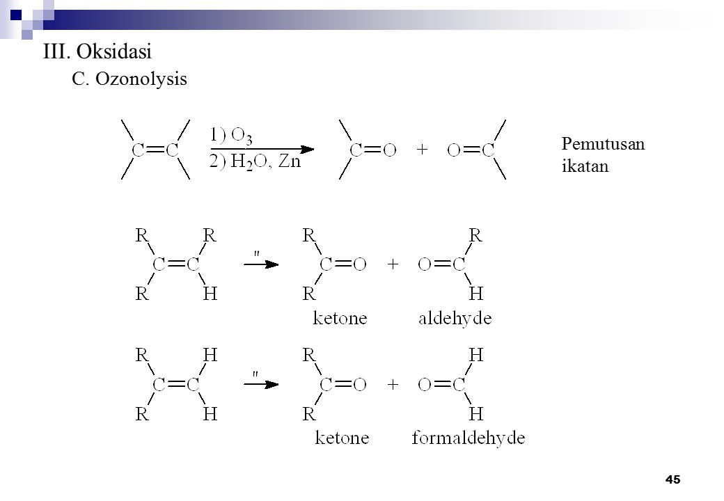 III. Oksidasi C. Ozonolysis Pemutusan ikatan